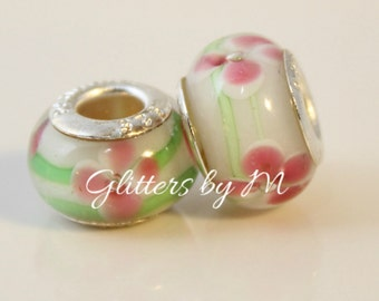 2 Green with Pink Flowers Murano Glass Beads for European Style Charm Bracelets