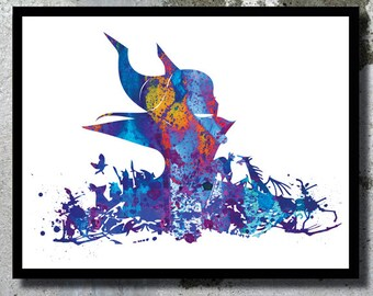 Painting Gift For Wedding : Maleficent Sleeping Beauty Disney Watercolor Archival Art Print ...