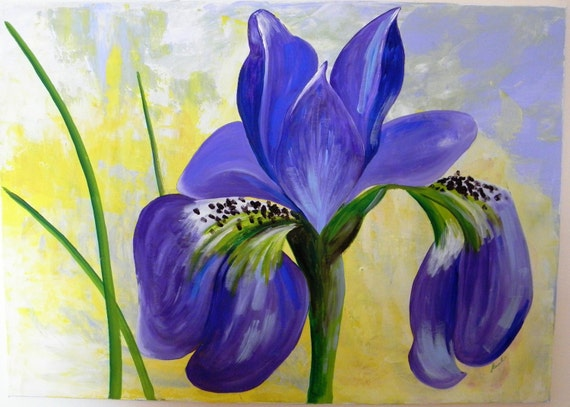 Original large acrylic painting on canvas purple flower iris for Painting large flowers in acrylic