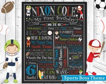 Boys Sports Football Baseball Soccer Surfing ChalkBoard Wall Art, Baby 1st Birthday Poster, Chalk Board, Wallart Custom & Personalized