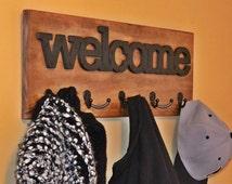 "Welcome Coat Rack, Wood Coat Hook, Wooden Welcome Sign, 25"" Coat Hook Rack, Mud Room, Hall Tree, Entryway Decor, Wall Hanging, Wall Mounted"
