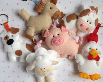 Cute Felt Hand Sewn Farm Animal Key Rings,Horse, Dog, Cat, Cow, Sheep, Pig And Chicken