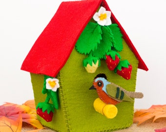 Woodland nursery decorative felt birdhouse with robin, strawberries and strawberry blossoms. Ready to ship.