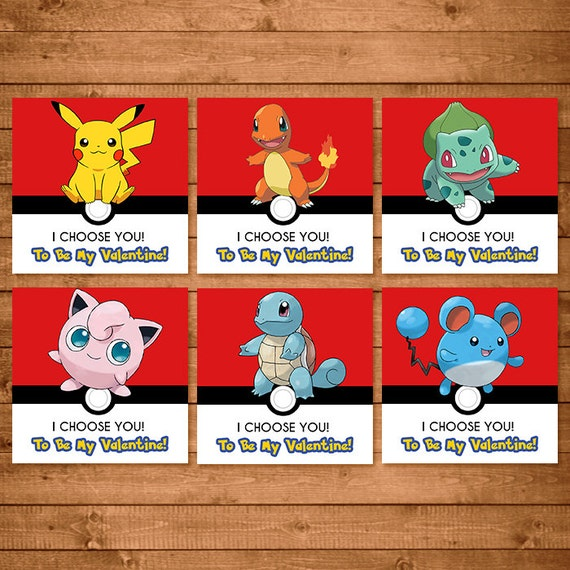 Pokemon Valentines Day Card - Pokemon Valentines - Pokemon  School Valentines - Pikachu Valentines