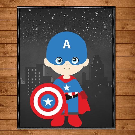 Captain America Superhero Wall Art Chalkboard Captain