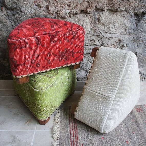 Turkish Rug Covered Ottoman: Items Similar To Triangle Footstool, Foot Stool With
