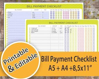 Bill Tracker, Bill Payment, Bill Checklist, Financial Organizer, Bills Payment Tracker Printable PDF, Bill Payment EDITABLE