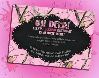 Pink Camouflage Birthday Invitation