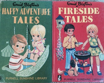 Two Charming 1970's Vintage Enid Blyton Books Happy Adventure Tales & Fireside Tales