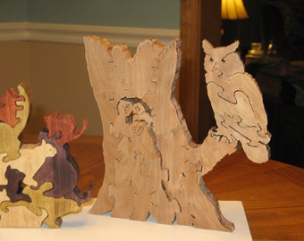 owl family owl family puzzle wooden owl family puzzle wooden owl family jig saw puzzle wooden stand alone owl puzzle