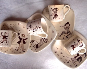 Tasca Hand Painted Italian Demitasse Cups and Saucers