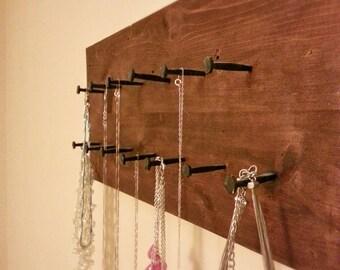 Reclaimed Handmade Wall Necklace Holder