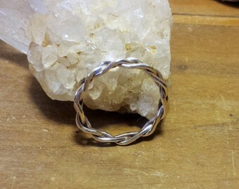 Sterling silver hand braided ring