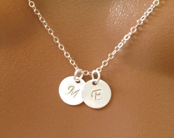 Personalized initial necklace, TWO DISCS necklace, Sterling Silver necklace, gift for mom sister friend, bridesmaids gift