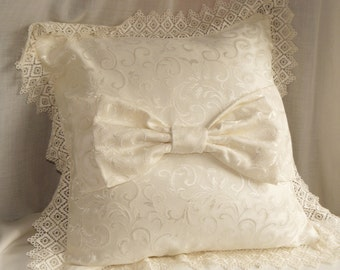 pillow with lace and bow