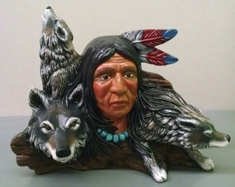 Wood Carved Wolf Pack--Native American Indian Figurine--Heirloom Quality--Hand-Painted Ceramic--Home Decor--Native American Art