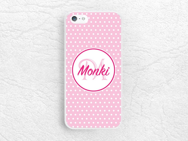 Girly Pink Polka Dots Monogram Phone Case For IPhone 8 IPhone