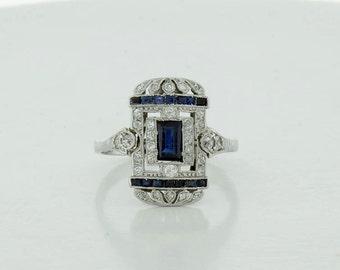 Vintage Like Lady's eighteen karat White Gold Diamond and Synthetic Sapphire Corundum Ring