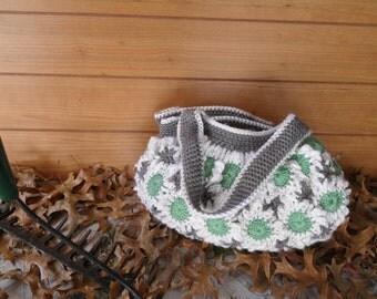 Crochet Gray Spring Flower Purse. Crochet Flower Purse