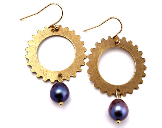 Steampunk Earrings - Steampunk Jewelry, Brass Gear Earrings, Steampunk Gear Earrings