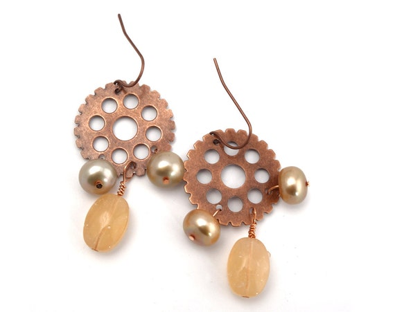 Steampunk Earrings - Steampunk Jewelry, Copper Colored Gear Earrings, Steampunk Gear Earrings