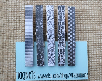 """Black White Clothespin Magnets / Clothespin Magnets in """"B&W Life"""" / Clothespin Clips / Decorative Magnet Set"""