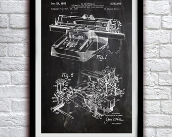 1952 Accounting Machine - Patent Print Poster Wall Decor - 0001