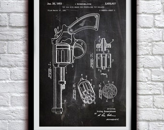 Toy Cap Gun 1955 - Toy and Game Decor - Patent Print Poster Wall Decor - 0119