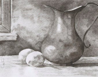Still Life, Charcoal Drawing, Art, Realism, Classic Art, Original Art, Portrait Drawing., 3D Art, Art Print, Home Decor.