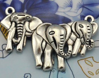 10pcs Antique Silver Three Elephant Connector Charm Pendants 29x45mm--J00307