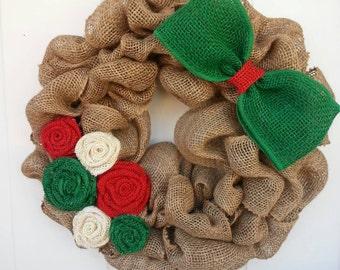 Christmas burlap wreath / Christmas Wreath / Burlap Wreath / Red and Green Wreath