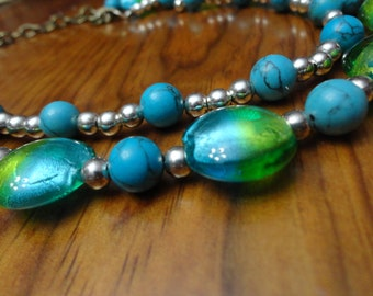 Beaded Turquoise and Green Double- Stranded Necklace