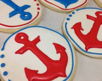 Gourmet Sugar Cookie Gift Collection Nautical Anchors for birthday or baby shower