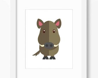 Boar Print, Boar Art, Pig Print, Nursery Art, Nursery Print, Nursery Pig Print, Nursery Pig Art, Kids Pig Art, Kids Pig Print, Nursery Boar
