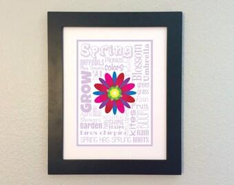 Spring Season / Word Art Typography / Wall Art / Home Decor / Unique Gift / Blossom Bloom Grow Flowers Showers Rain