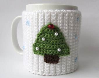 Crochet PATTERN-Coffe Mug Cozy with Christmas Tree-Instant Download