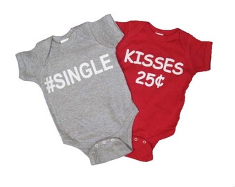2 Valentine's Day Onesies. Kisses 25 cents. SINGLE Baby Onesie. Baby's First Valentine's Day. Valentine's Day Baby. Baby Shower Gift.