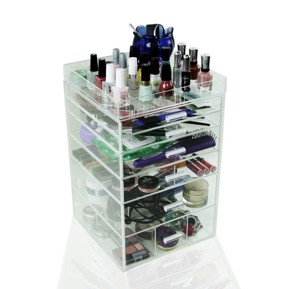 Acrylic Makeup Organizer 6 Drawers Clear Cosmetic Cube