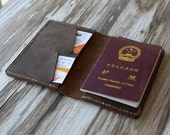 Leather Passport Cover - Leather passport Wallet 105 / Men passport case / Leather Passport holder / Passport keeper