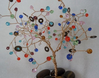 Tree of Life (Money tree), with a Swarovski beads, glass stone base and I-ching coins, Wedding table decoration