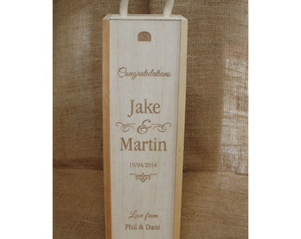 Wooden Engraved Winebox - an ideal wedding present