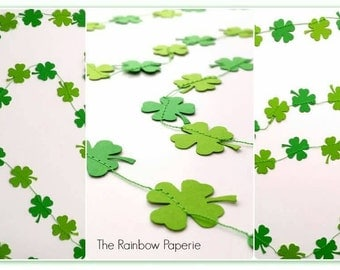 3m Green 4 Leaf Clover Paper Garland, St Patrick's Day Decor, Luck o the Irish Decor, party decor, Good Luck photo prop