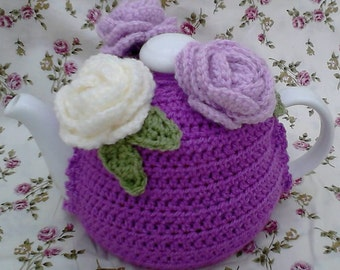 Rose bouquet Tea Cosy handmade crochet knitted vintage perfect gift