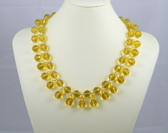 Yellow Citrine Drop Necklace