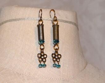 Bullet Bead Cap Earrings - .22 Caliber Bullet Casings - Multiple Colors Available