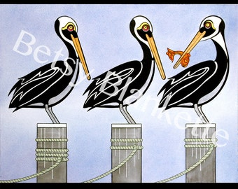 Pier Pressure  giclée pelican prints - 11x14 matted, limited edition, signed and numbered