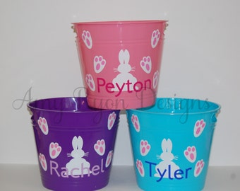 Buy one get one free!  Personalized Plastic Easter Bunny Bucket, Custom Easter Bucket, Custom Easter Tub, Personalized Easter Bunny