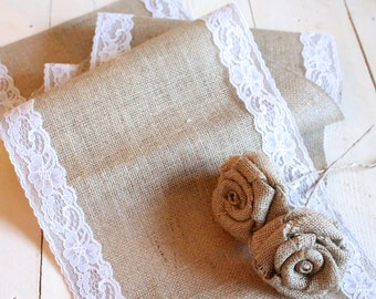 Burlap Table Runner with White Lace, Rustic Table Runner, Country Wedding, Burlap and Lace Runner, Wedding Table Runner, Rustic Wedding