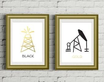 Black Gold Oil POSTER PACKAGE / Wall Art / Black, Faux gold foil / Oil Derrick, Pump Jack / 8x10 Poster – Printable DIY, Instant Download