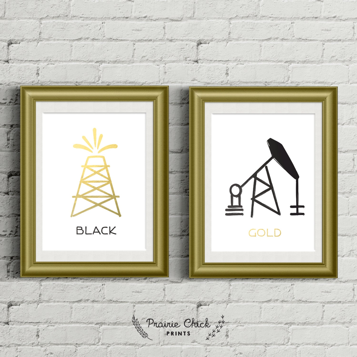 Wall Art Black Gold : Black gold oil poster package wall art faux